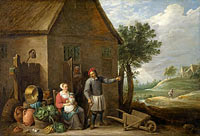 A peasant with his wife and child in front of the farmhouse