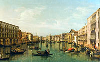 Бернардо Беллотто: View of Grand Canal with the Palazzi Foscari and Moro Lin