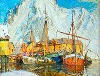 Anna Boberg: The Harbour at Svolvaer, Lofoten