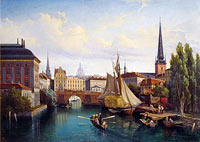 Gustaf Wilhelm Palm: View of the Riddarholmskanalen, Stockholm, 1835