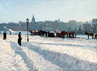 Alfred Bergström: Winter Scene from the Stockholm Waterfront