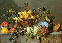 Adriaen van Utrecht: Still Life with Fruit and a Monkey eating Grapes