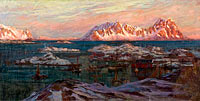 Fishing Harbour with Sunlit Mountains. Study from North Norway