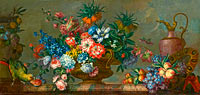 Antoine Monnoyer: Flowerpiece with Vases and a Parrot