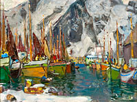 Anna Boberg: Among the Fishing Boats in Svolvaer. Study from Lofoten