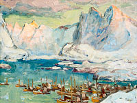 Anna Boberg: Svolvaer Harbour at the Height of the Fishing Season.Study from Lofoten
