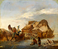 Philips Wouwerman: A Nobleman's Sleigh on the Ice
