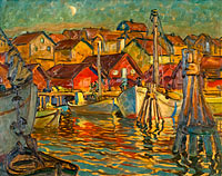 Anna Boberg: A Fishing Harbour. Study from North Norway
