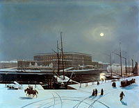 Carl Stefan Bennet: View of the Royal Palace of Stockholm. Winter