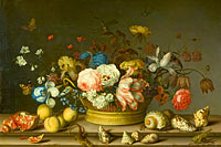 Balthasar van der Ast: Still Life with a Basket of Flowers