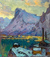 Anna Boberg: Svolvaer Harbour at the Height of the Fishing Season.Study from Lofoten (2)