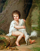 Portrait of the young Henri Bertholet-Campan (1784-1821) with the dog Aline