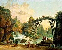 Юбер Робер: Draughtsman Drawing the Wooden Bridge in the Park of Méréville