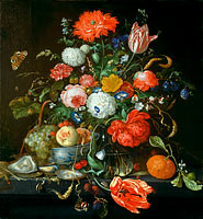 Jan Davidsz. de Heem: Flower Still Life with a Bowl of Fruit and Oysters
