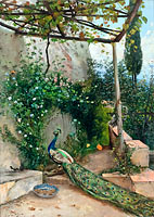 Terrace with Peacock, the Alhambra