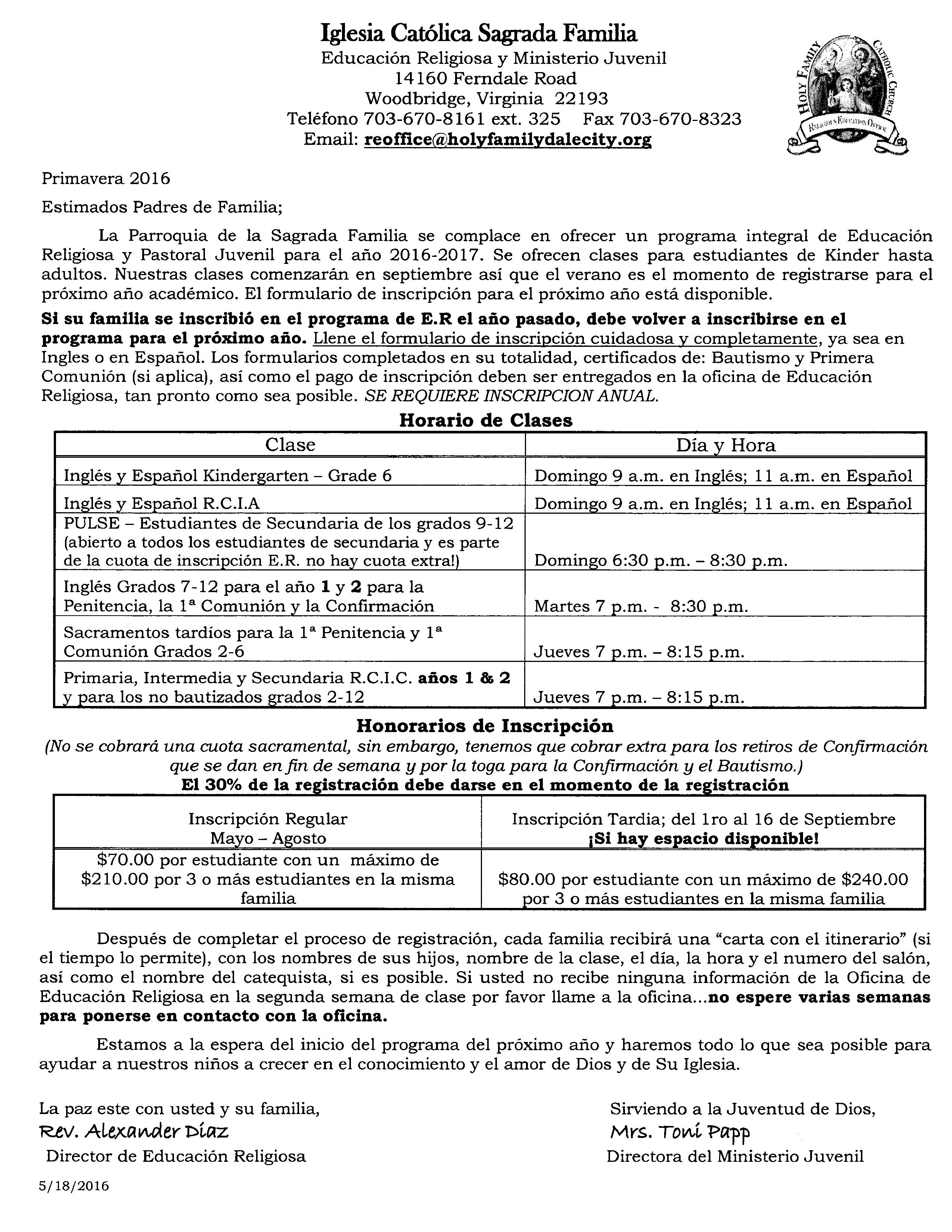 2016 - 2017 CCD Program Information (S)