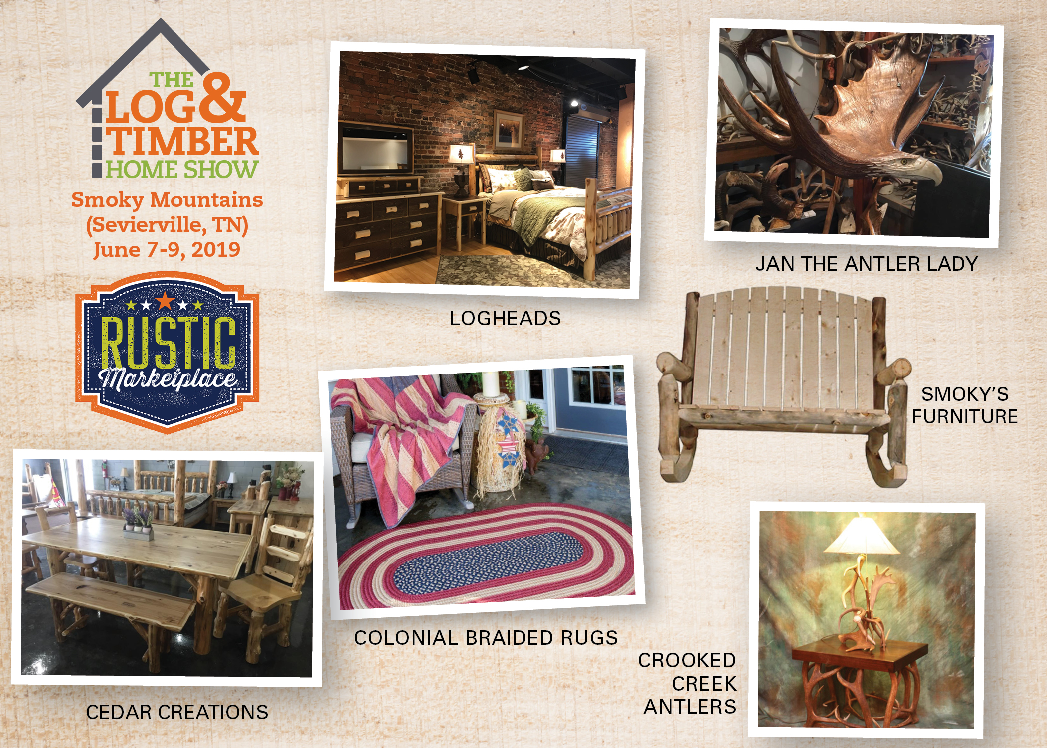 Rustic Marketplace | Sevierville, TN | Log & Timber Home Show | June 7-9, 2019