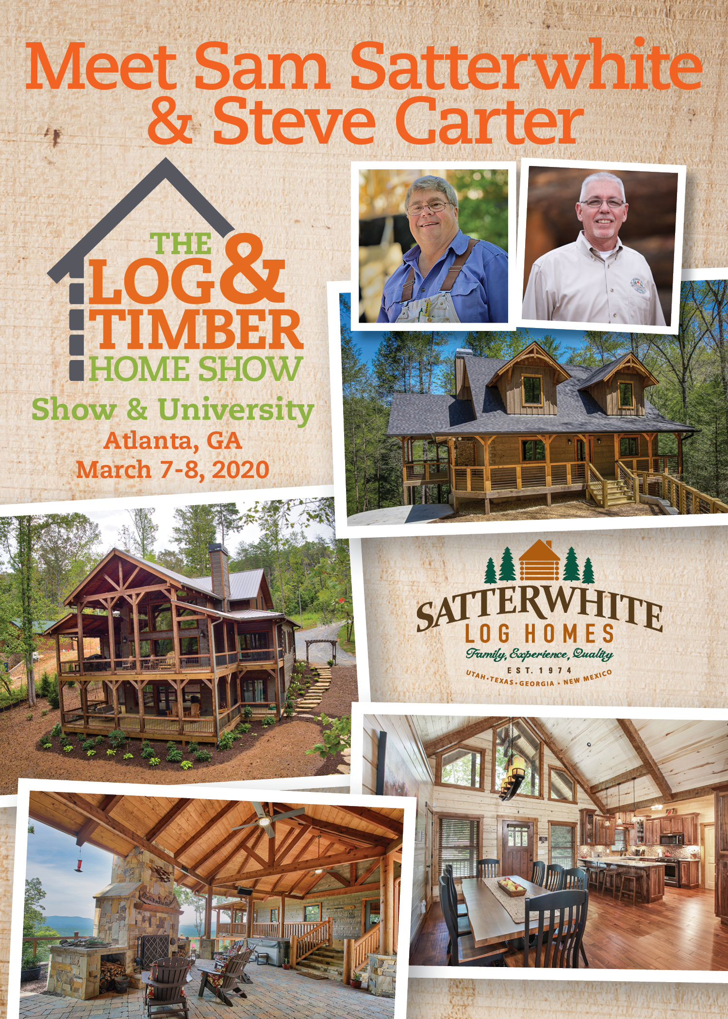 Atlanta, GA | Log & Timber Home Show | Satterwhite Log Homes | FREE Workshop | March 7-8, 2020