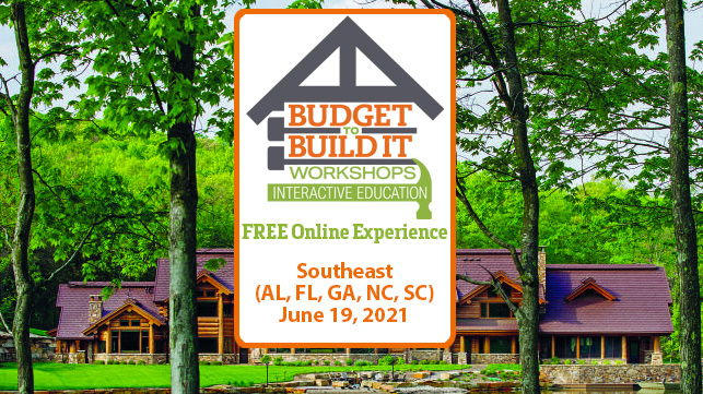 Southeast Region | Budget to Build It Workshops | June 19, 2021 | AL | FL | GA | NC | SC
