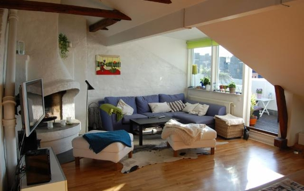 BoligBytte til,Sweden,Stockholm, 0k, N,Llving room with flat screen, open fire place and