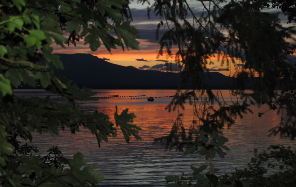 A sunset view from our porch on Saltspring looking