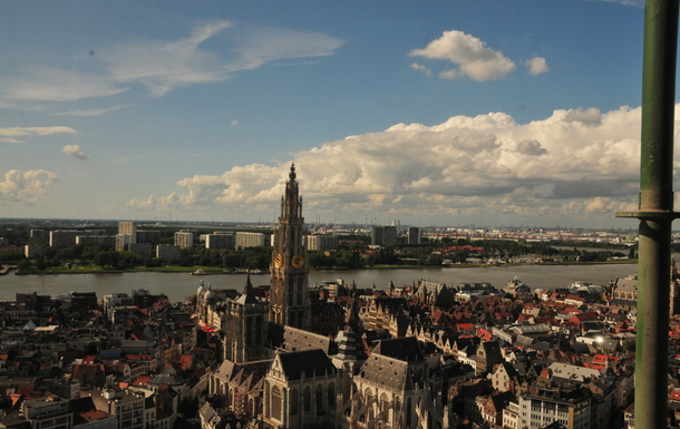 View on the river Schelde and cathedral from KBC