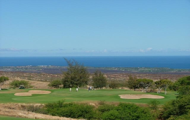 View of golf course and ocean from Balcony
