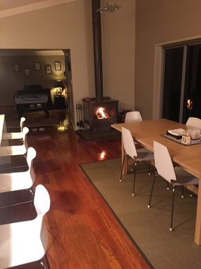 Home exchange in,Australia,Tamborine Mountain,upstairs dining with cosy wood burner, games room
