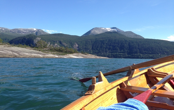 On the fjord with our rowing boat.