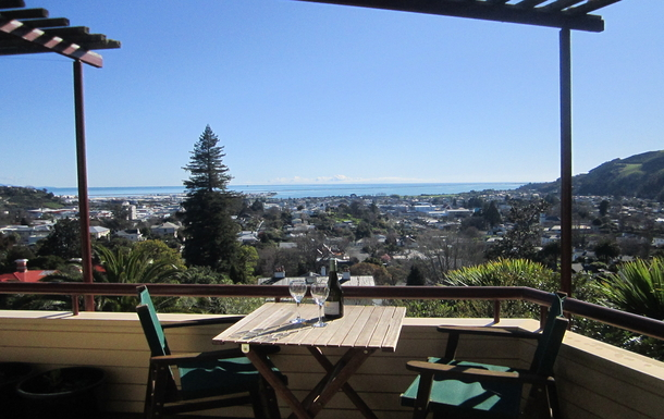 Stunning views from the deck overlooking Nelson.