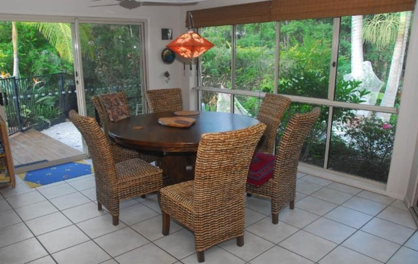 Home exchange in,Australia,TEWANTIN,The dining area looks out into the garden and the