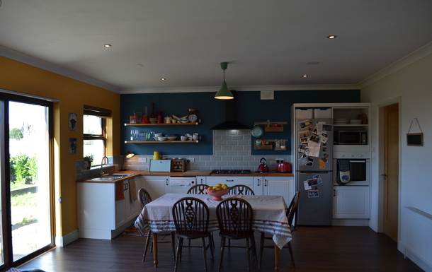 colourful kitchen, looking onto back garden