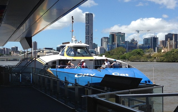Home exchange in,Australia,Brisbane,CityCat at Milton Terminal - City in Background