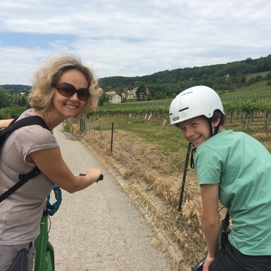 Biking amid the vineyards of Sievering in Vienna,