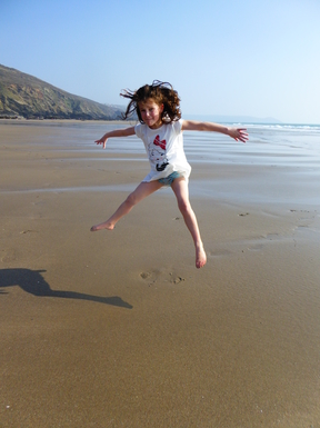 Home exchange in,United Kingdom,Plymouth,Emily having some fun on a local beach.