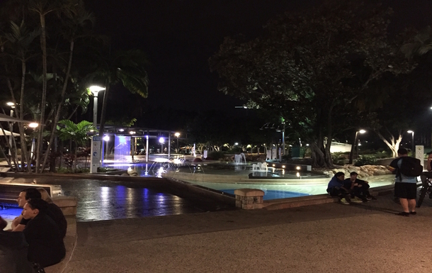 Home exchange in,Australia,Brisbane,Southbank Park at night -Swimming and Eating