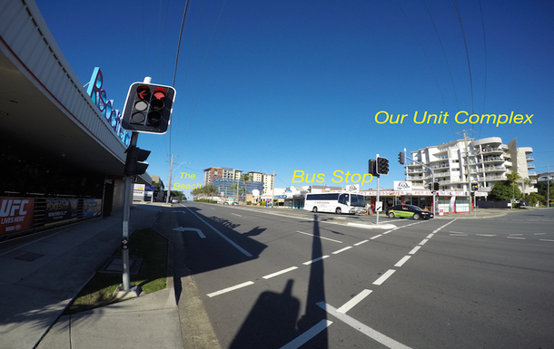 Home exchange in,Australia,Redcliffe,Unit Complex, Bus Stop and Beach