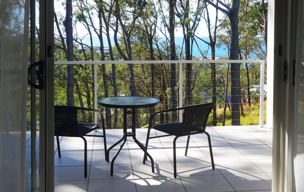 Home exchange in,Australia,COFFS HARBOUR,Deck off main bedroom - with views