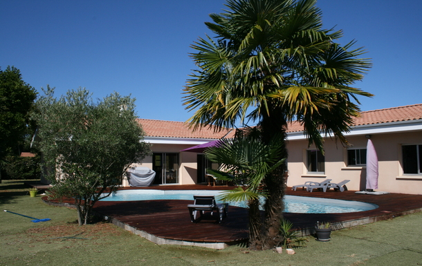 Back of our villa with its pool and garden