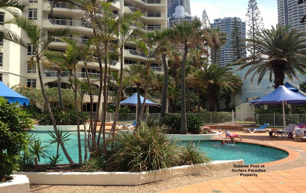 Home exchange in,Australia,Brisbane,Outside Pool at my Surfers Paradise Property