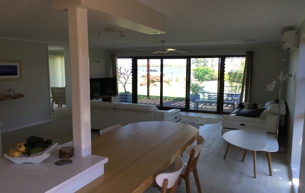 Home exchange in,Australia,BELLARA,Kitchen view thru to Pumicestone Passage