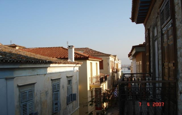 BoligBytte til,Greece,Nafplion,view from rear balcony sea in the background