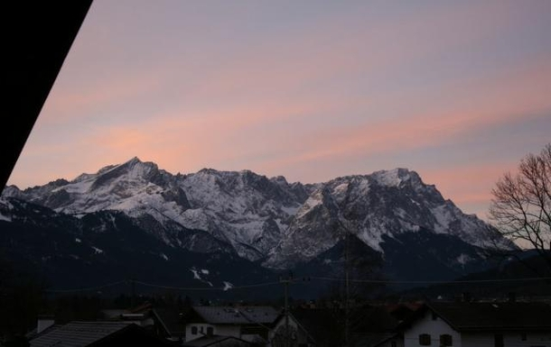 The view from our balcony. Zugspitze and Alpspitze