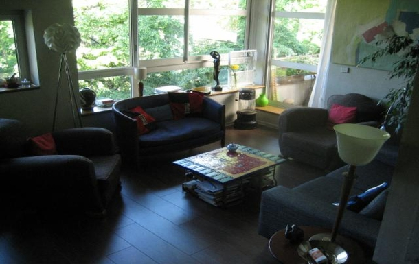 Living room very bright and sunny facing the park