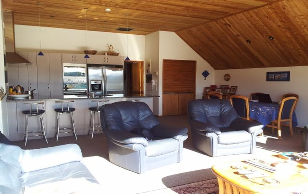 Home exchange in,New Zealand,Picton,lounge from upper deck