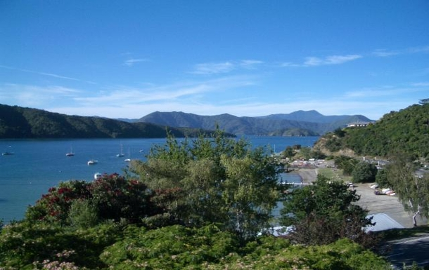 Home exchange in,New Zealand,Picton,View from upper deck over Waikawa Bay