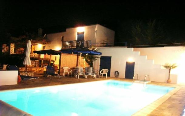 BoligBytte til,Greece,Paros, Greece.  Tsanes,The pool at night time