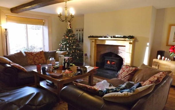 Main lounge on Christmas Day morning