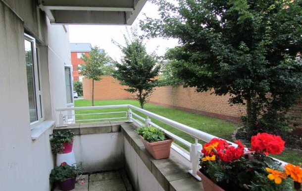 Outside patio overlooking communal gardens.