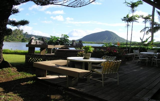 Deck overlooking lagoon, great for outside eating.